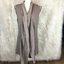Saks Fifth Avenue Womens Vest Taupe Silk Open Front Waterfall Size Small #C9