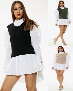 New Womens Ladies Contrast 2 In 1 Knit Jumper Shirt Dress Mini Jumper Size 8-14