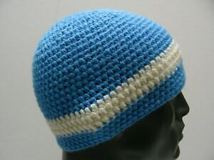 BLUE & WHITE - HAND KNITTED - YOUTH SIZE STOCKING CAP BEANIE HAT!