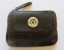 Brightony Coin Purse- brown leather -round charm- square- attached key ring