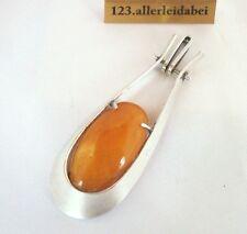 Big Original Fischland Butterscotch Bernstein Anhänger 835 er Silber / AS 187