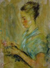 Impressionist pastel painting Portrait signed, Pierre Auguste Renoir, w COA &DOC