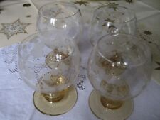 4 alte Weingläser, unbeschädigt, handgeschliffen, wahrscheinlich Theresienthal