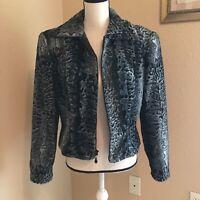 Cache Jacket Coat Size M Medium Grey/Black Zip Up