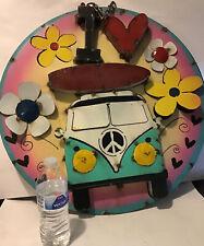 """Antique Diecast 3D Sign Hippie Surf Board Volkswagen Flowers OOAK  Rare HTF 23"""""""