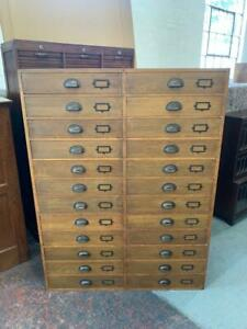Vintage Industrial Oak Mid Century 24 Drawer Museum Collectors Chest of Drawers