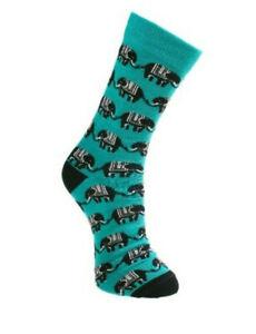 Shared Earth Fair Trade Bamboo Turqoise Elephant Socks UK 3-7