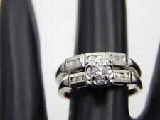 Vintage Diamond Engagement Ring .33 tcw F-SI 14k WG Estate Wedding Set Designer
