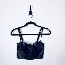 EUC Victoria's Secret 34C Balconette Very Sexy Black Faux Leather Corsette Bra