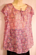 women's Gap dotted pink blues top size medium cool sheer summer top brand new