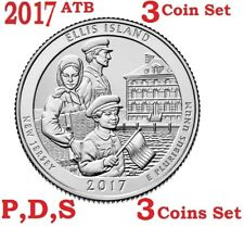 2017 P D S 25C Ellis Island 3-coin set America the Beautiful Parks Quarter