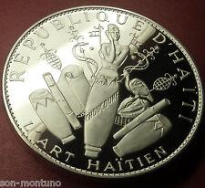 HAITIAN ART Silver Proof Coin Woman Conga Drum Vodou HAITI 25 GOURDES 1968 ~4 OZ
