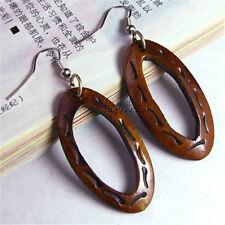 Pair Tibetan Copper Earwire Carved Decorative Pattern Yak Bone Dangle Earrings