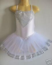 NEW Girls Ballet Sequins tutu Dance Costume - White L