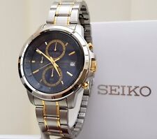 New SEIKO Chronograph BLUE Watch Men's WR 100m,RRP £250 UK Seller IDEAL GIFT