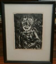 Expressionist Clown Lithograph-8 1/2 x 6 1/2-1950s-Israel Louis Winarsky