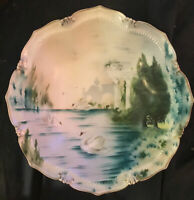 """Magnificent Antique RS Prussia Hand Painted Porcelain Swan Lake Serving Bowl 11"""""""