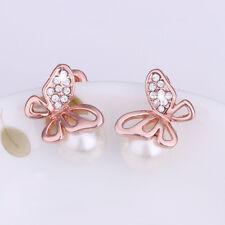 Wholesale 18k Rose Gold Filled Clear Zirconia Crystal Butterfly Pearl Earrings