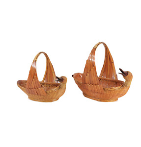 Vintage 70s Mid Century Modern MCM Set of 2 Handled Duck Wicker Baskets Wood
