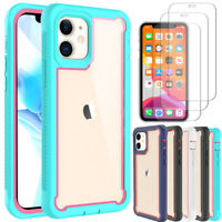 For iPhone 12/12 Pro/12 Mini/12 Pro Max Rugged Case Cover+Tempered Glass Screen
