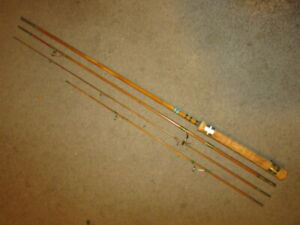 """Vintage 4pc. Bamboo Fly Fishing Rod, Spin/Fly Combo, Custom Made, 1050's, 8"""", VG"""