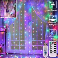 300 LED Curtain String Lights 8 Lighting Modes Multicolor USB Powered Xmas Decor