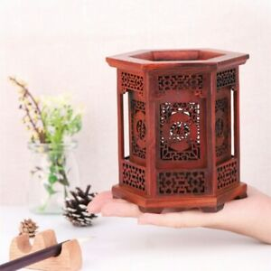 Classic Style Pen Holder Exquisite Red Wood Carving Handicraft Household Gifts
