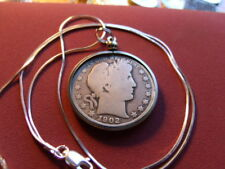 """1902 Barber Silver Half Dollar Pendant on a 22"""" .925 ITALY Silver Snake Chain"""