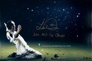 Landon Donovan Hand Signed Autograph 16x24 Galaxy MLS Cup Champ On Knees /10 UDA