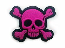 Small Pink Skull and Cross Bones Biker Patch