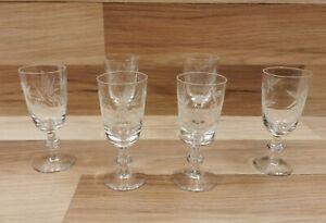 6 x Vintage Knopped Stem Floral Etched Crystal Glass Sherry/Port/Liquer Glasses