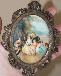 Vintage Brass Italian Picture Photo Frame Victorian Miniature Print