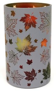 New Yankee Candle Fall Oak Maple Leaf Frosted Large Jar Holder