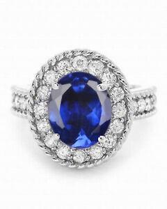 14KT Gold / 1.80Ct Natural Royal Blue Tanzanite With IGI Certified Diamond Ring