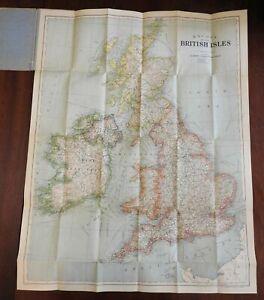 Bacon's linen Map of British Isles England Scotland Wales Ireland c. 1920's map