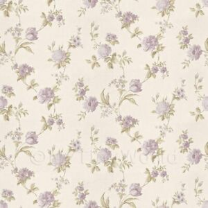 Dolls House Miniature Mixed Violet Flowers On White Wallpaper