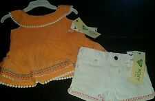SO CUTE ROXY BABY GIRL'S 2 PIECE SUMMER SET. CANTALOUPE/WHITE . 18 MONTHS
