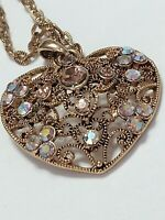 "Gold Tone Filigree Heart Pendant with Topaz & Aurora Borealis stones 24"""