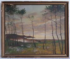 Tableau ancien huile sur toile paysage bord de mer fin XIXème 19ème