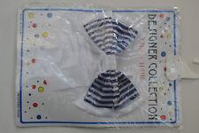 "Designer Collection 5"" Large Girls Ribbon Bow Hair Clip White / Stripe Navy"