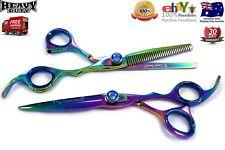 Professional Salon Shear Hair Cutting Scissors Set, Stylish Titanium Multi Color
