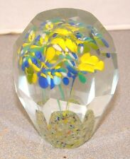 Vintage Bohemian Lampwork Three Flowers Facet Cut Paperweight
