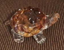 Lenox Amber Glass Turtle Paperweight Handcrafted In Taiwan