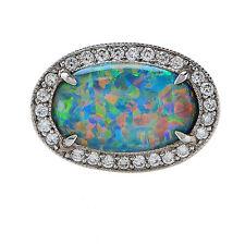 Fine Natural 2.77ct Black Opal & Diamond Platinum Ring
