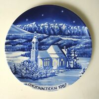 Weihnachtsteller Leni Parbus 1987 Kobalt ca. 19,5 cm