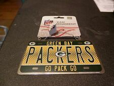 "GREEN BAY PACKERS ORNAMENT License Plate New NFL ""GO PACK GO"""