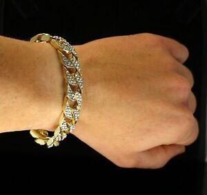 Mens Iced Cuban Link Bracelet Cz 14k Gold Plated Hip Hop Statement Fashion