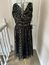Adrianna Papell Evening Party Dress Black And Gold Layered Size 12 BNWT