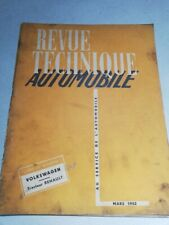 Revue technique RTA VOLKSWAGEN VW COX COCCINELLE 1952 TRACTEUR RENAULT 3.041