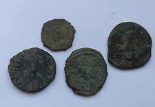LOT OF 4 ANCIENT BYZANTINE BRONZE COINS. ANASTASIUS, JUSTINIAN,JUST II, BASIL II